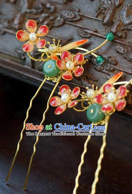 China Traditional Wedding Plum Blossom Hair Stick Xiuhe Suit Hair Accessories Bride Jade Hairpin