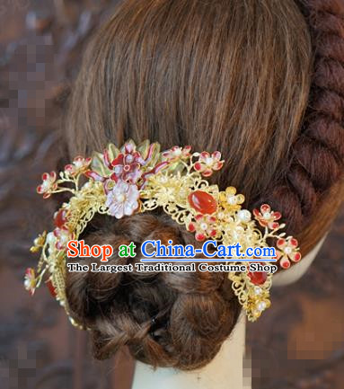 China Traditional Wedding Agate Hair Clasp Xiuhe Suit Hair Accessories Bride Hairpin Golden Hair Crown