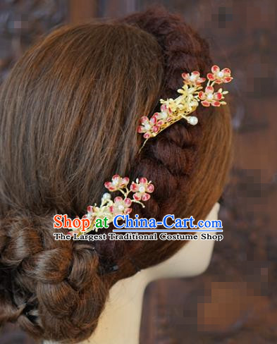 China Traditional Wedding Red Plum Hair Sticks Xiuhe Suit Hair Accessories Bride Hairpin