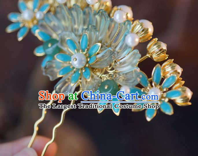 China Traditional Bride Blue Flowers Hairpin Xiuhe Suit Hair Accessories Wedding Hair Comb