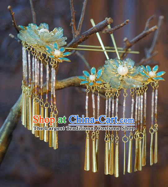 China Traditional Bride Tassel Hairpin Xiuhe Suit Hair Accessories Wedding Blue Flowers Hair Sticks