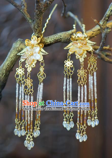 China Traditional Bride Shell Plum Hairpins Wedding Beads Tassel Hair Sticks Xiuhe Suit Hair Accessories Headwear
