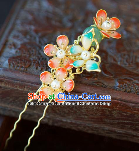 China Traditional Bride Red Plum Hairpin Xiuhe Suit Hair Accessories Wedding Blue Butterfly Hair Stick