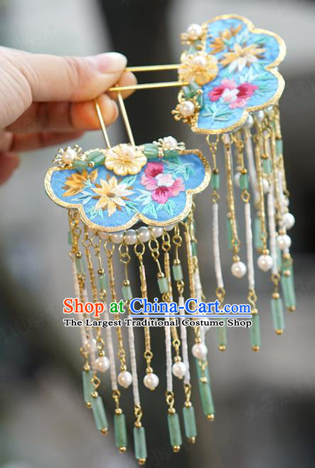 China Palace Blue Embroidered Hairpin Wedding Jade Tassel Step Shake Traditional Xiuhe Suit Hair Accessories