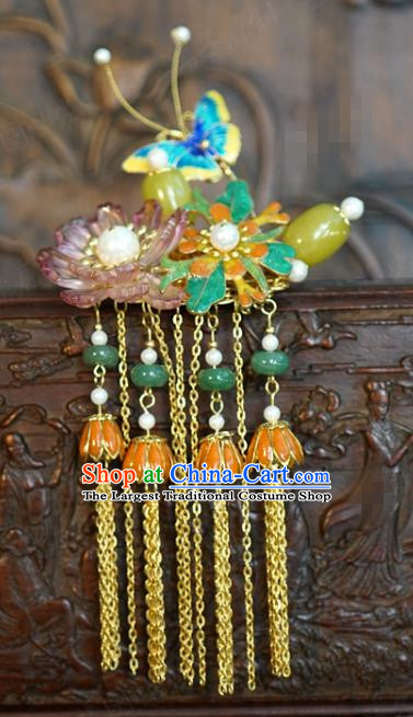 China Wedding Bride Ceregat Hairpin Traditional Xiuhe Suit Hair Accessories Ancient Princess Golden Tassel Hair Stick