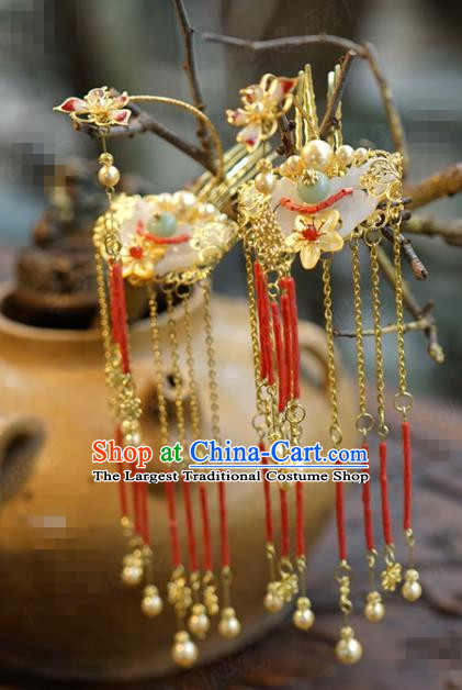 China Ancient Princess Jade Hair Sticks Traditional Xiuhe Suit Hair Accessories Wedding Bride Red Tassel Hairpins
