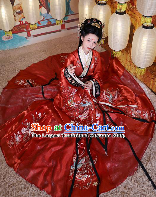 China Ancient Court Beauty Embroidered Red Dress Apparels Spring and Autumn Period Imperial Consort Xi Shi Hanfu Clothing