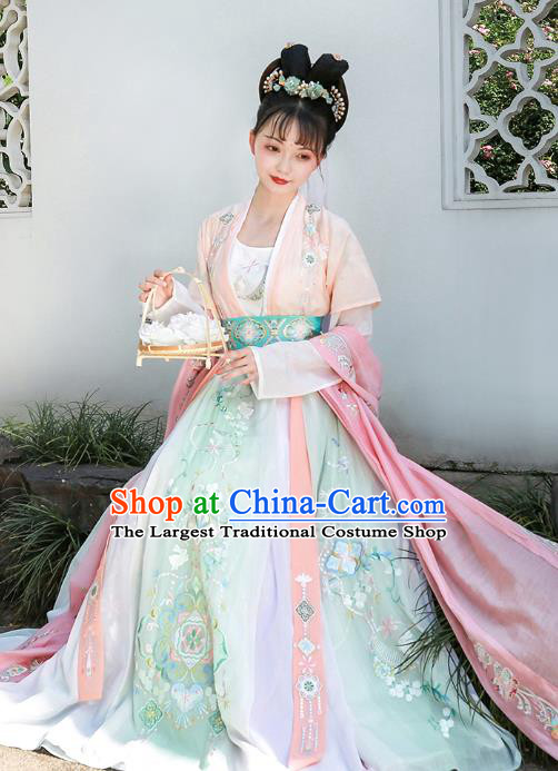 China Song Dynasty Palace Lady Embroidered Dress Ancient Princess Apparels Traditional Hanfu Clothing