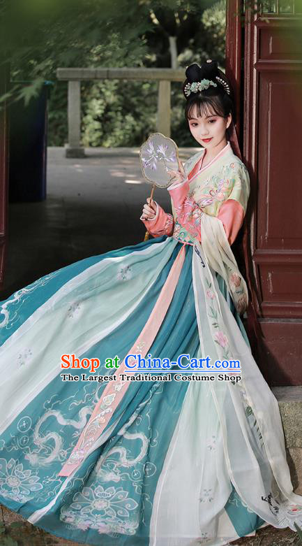China Traditional Tang Dynasty Royal Princess Hanfu Dress Clothing Ancient Palace Lady Costumes