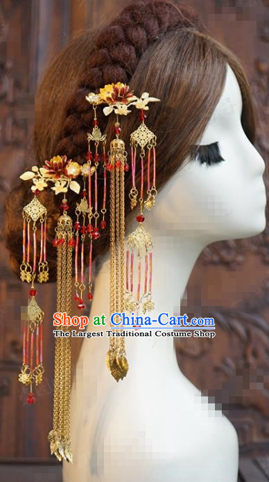 China Ancient Princess Long Tassel Hairpins Traditional Xiuhe Suit Hair Accessories Wedding Bride Hair Sticks