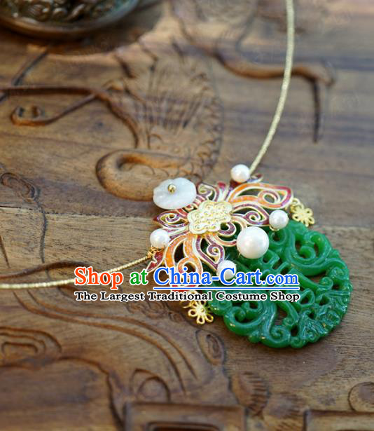 Chinese Traditional Cloisonne Lotus Necklace Handmade Ancient Princess Jade Carving Necklet Accessories