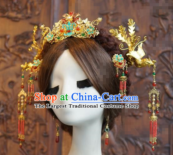 China Traditional Wedding Phoenix Coronet Hair Accessories Xiuhe Suit Headpieces Ancient Bride Tassel Step Shake Hairpins