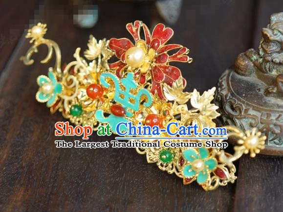China Ancient Princess Enamel Red Hair Crown Traditional Xiuhe Suit Hair Jewelry Accessories Court Gems Hairpin