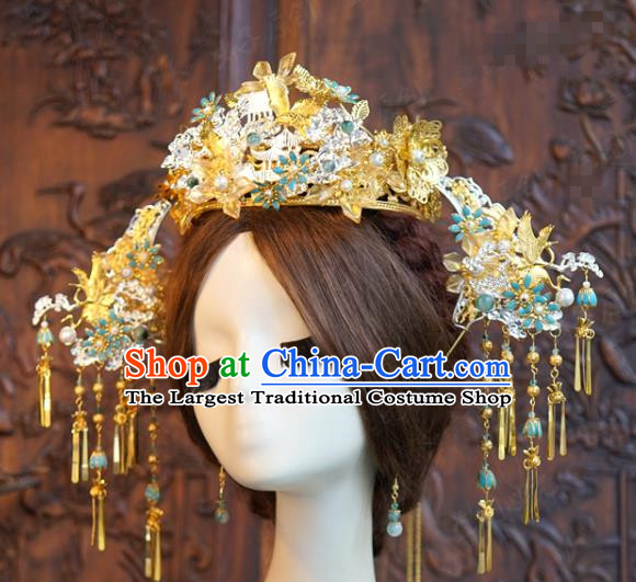 China Xiuhe Suit Headpieces Ancient Bride Golden Tassel Hairpins Traditional Wedding Phoenix Coronet Hair Accessories