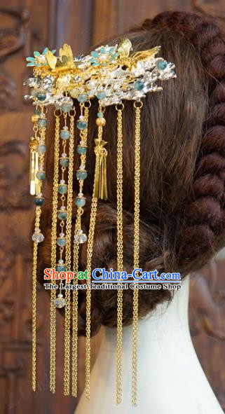 China Ancient Bride Hairpin Traditional Xiuhe Suit Hair Jewelry Accessories Wedding Golden Long Tassel Hair Comb
