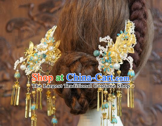 China Ancient Bride Golden Tassel Hairpin Traditional Xiuhe Suit Hair Jewelry Accessories Wedding Hair Sticks