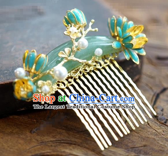 China Ancient Princess Convallaria Hair Comb Traditional Xiuhe Suit Hair Jewelry Accessories Court Jade Hair Stick