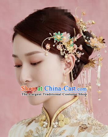 China Traditional Xiuhe Suit Hair Combs Ancient Bride Hairpins Wedding Luxury Hair Accessories Full Set