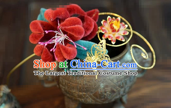 China Wedding Jewelry Adornment Traditional Xiuhe Suit Hair Accessories Velvet Chrysanthemum Hair Stick Ancient Empress Hairpin