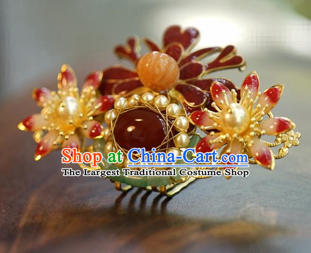 China Wedding Pearls Hairpin Jewelry Adornment Traditional Xiuhe Suit Hair Accessories Ancient Empress Agate Hair Crown
