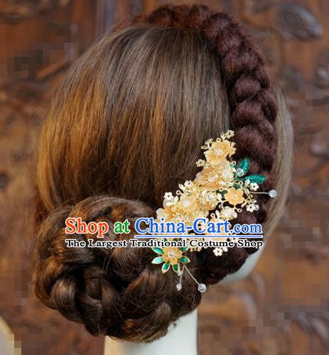 China Ancient Princess Hairpin Traditional Xiuhe Suit Hair Accessories Wedding Bride Flowers Hair Comb