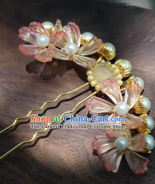 China Ancient Hanfu Pink Flowers Hairpin Wedding Pearls Hair Stick Traditional Xiuhe Suit Hair Jewelry Accessories