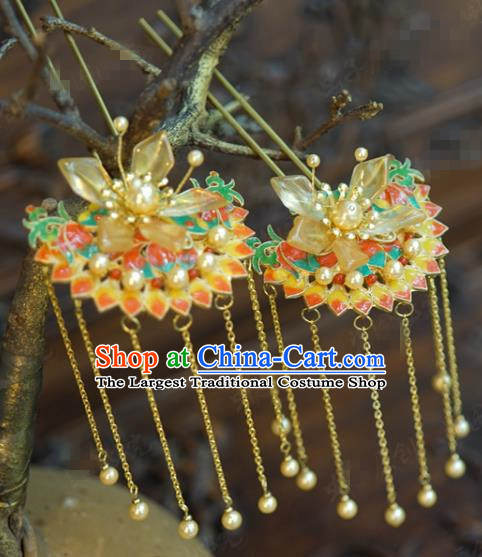 China Hanfu Pearls Tassel Hair Sticks Ancient Traditional Xiuhe Suit Hair Jewelry Accessories Wedding Cloisonne Hairpins