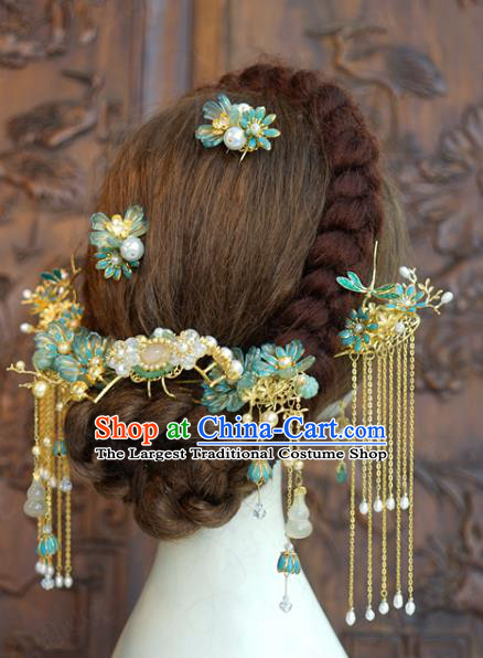 China Ancient Bride Hair Accessories Traditional Wedding Xiuhe Suit Flowers Hairpins Tassel Hair Sticks Complete Set