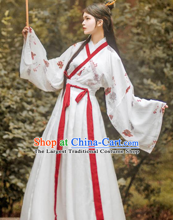 Traditional China Jin Dynasty Female Swordsman Historical Clothing Ancient Country Lady Hanfu Garment Outfits