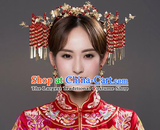 Chinese Ancient Wedding Hair Jewelry Accessories Traditional Bride Golden Hair Crown and Hairpins Full Set