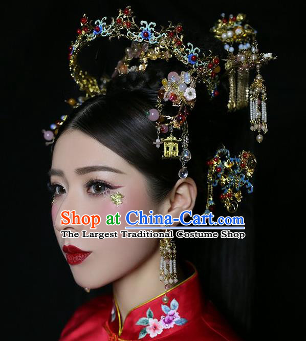 Chinese Traditional Bride Blueing Hair Crown and Hairpins Ancient Wedding Hair Jewelry Accessories Full Set
