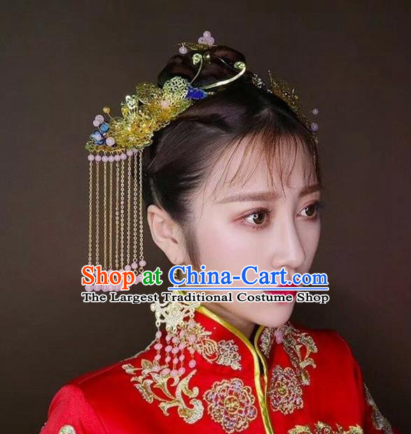 Chinese Traditional Bride Tassel Hair Sticks Ancient Wedding Hair Jewelry Accessories Hairpins Full Set