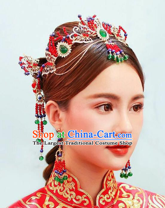 Chinese Traditional Bride Crystal Butterfly Hair Crown Ancient Wedding Hair Jewelry Accessories Tassel Hairpins Complete Set