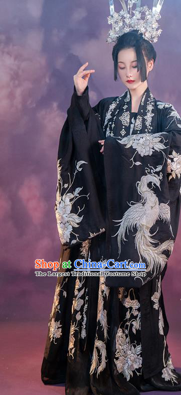 China Ancient Embroidered Black Hanfu Dress Royal Princess Costume Traditional Tang Dynasty Palace Lady Clothing