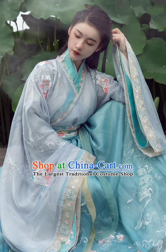 China Ancient Female Swordsman Costume Traditional Jin Dynasty Young Woman Embroidered Clothing Blue Hanfu Dress Outfits