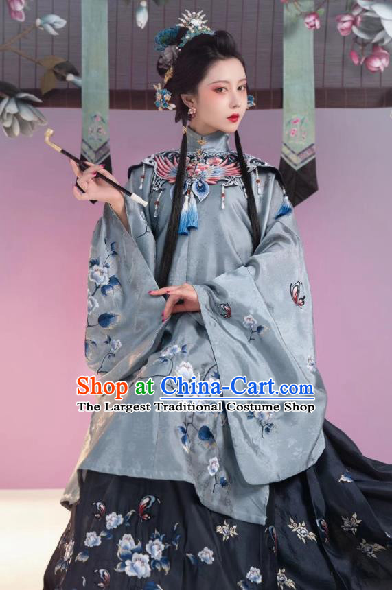 China Ancient Noble Countess Costume Traditional Ming Dynasty Court Woman Embroidered Hanfu Clothing