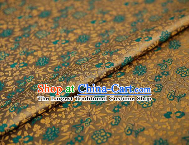 Chinese Classical Twine Chrysanthemum Pattern Design Brown Song Brocade Fabric Asian Traditional Silk Material