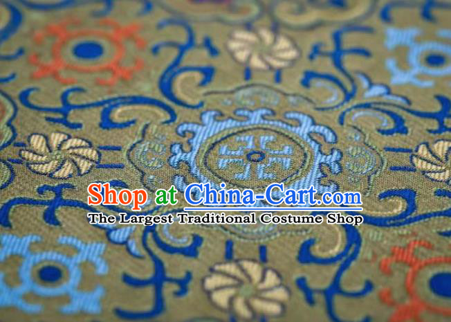 Chinese Classical Lotus Pattern Design Green Song Brocade Fabric Asian Traditional Silk Material