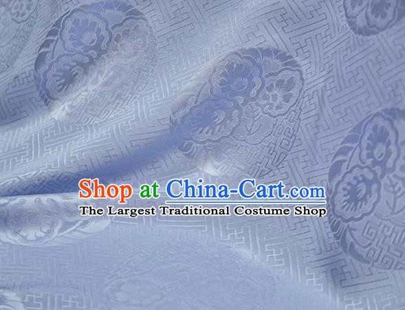 Chinese Classical Peony Pattern Design Light Blue Mulberry Silk Fabric Asian Traditional Cheongsam Silk Material
