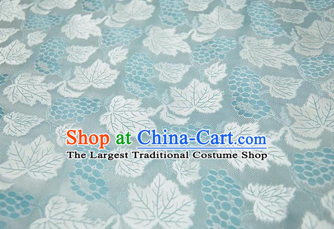Chinese Classical Grape Leaf Pattern Design Light Blue Mulberry Silk Fabric Asian Traditional Cheongsam Silk Material