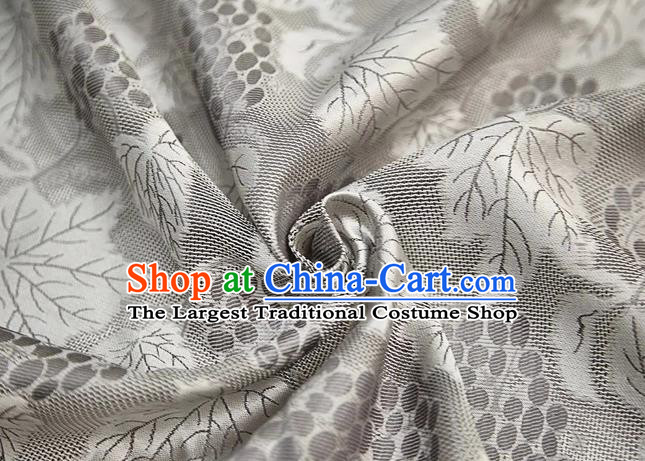 Chinese Classical Grape Leaf Pattern Design Light Grey Mulberry Silk Fabric Asian Traditional Cheongsam Silk Material