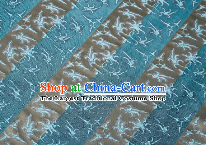 Chinese Classical Jacquard Pattern Design Blue Mulberry Silk Fabric Asian Traditional Cheongsam Silk Material