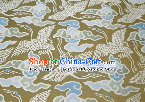 Chinese Classical Cloud Crane Pattern Design Golden Song Brocade Fabric Asian Traditional Silk Material