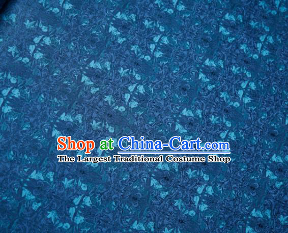 Chinese Classical Grass Pattern Design Peacock Green Su Brocade Fabric Asian Traditional Silk Material