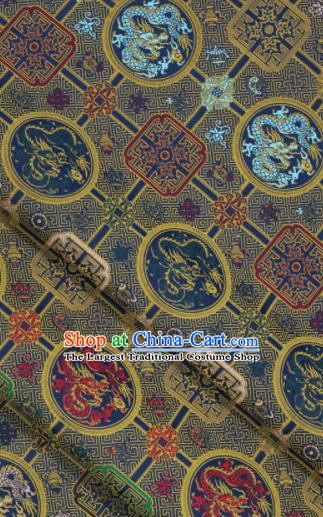 Chinese Classical Dragons Pattern Design Deep Blue Song Brocade Fabric Asian Traditional Silk Material