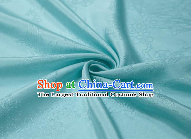 Chinese Classical Plum Pattern Design Lake Blue Mulberry Silk Fabric Asian Traditional Cheongsam Silk Material