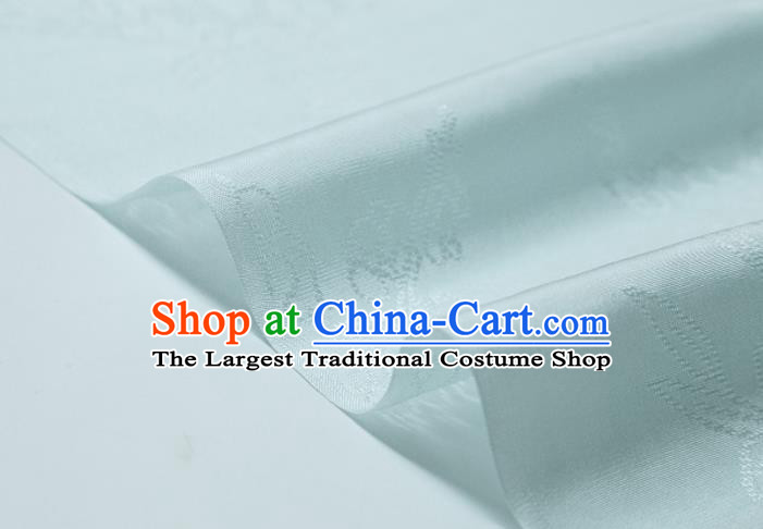 Chinese Classical Plum Pattern Design Light Blue Mulberry Silk Fabric Asian Traditional Cheongsam Silk Material