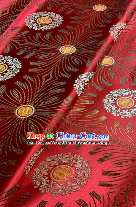 Chinese Classical Sunflowers Pattern Design Red Brocade Fabric Asian Traditional Satin Tang Suit Silk Material