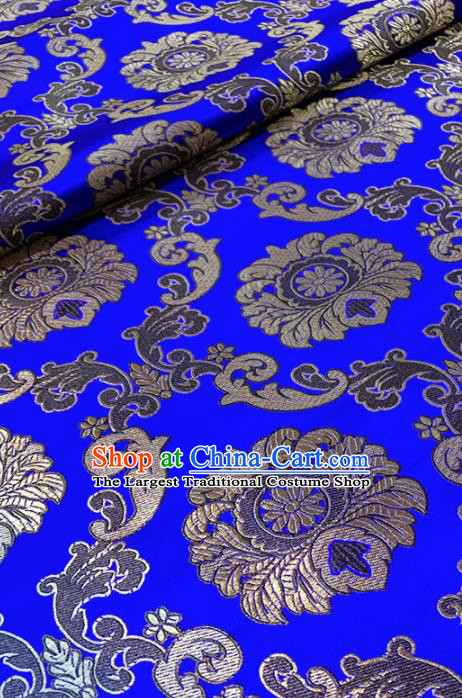 Chinese Classical Buddhism Lotus Pattern Design Royalblue Brocade Fabric Asian Traditional Satin Tang Suit Silk Material