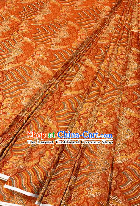 Chinese Classical Sea Wave Pattern Design Orange Brocade Fabric Asian Traditional Satin Tang Suit Silk Material